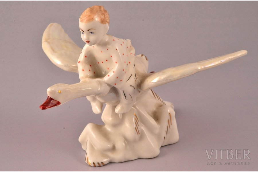 figurine, Ivanushka on the goose, porcelain, USSR, LZFI - Leningrad porcelain manufacture factory, molder - A. Kiselyov, the 50-60ies of 20th cent., 8.5 cm