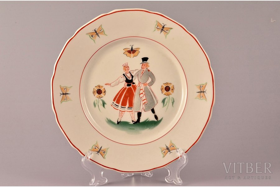 decorative plate, Folk dance, porcelain, J.K. Jessen manufactory, Riga (Latvia), the 30ties of 20th cent., 18 cm, second grade