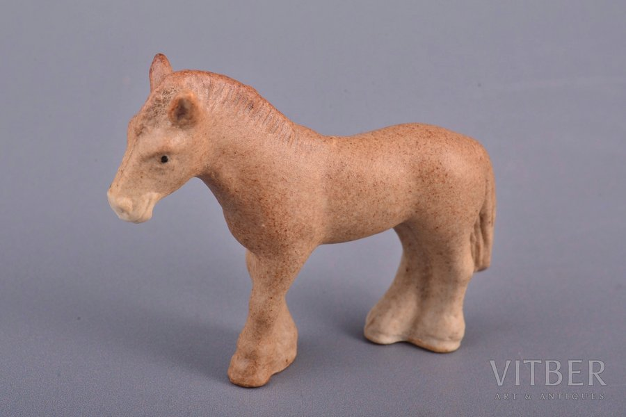 figurine, Horse, porcelain, Riga (Latvia), Riga porcelain factory, author's edition, molder - Aria Tsipruse, the 90ies of 20th cent., the 80ies of 20th cent., h 3.6 cm
