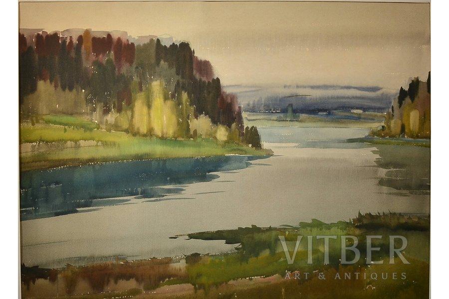 Eduards Jurkelis (1910-1978), Landscape with a river, paper, water colour, 58 x 79 cm