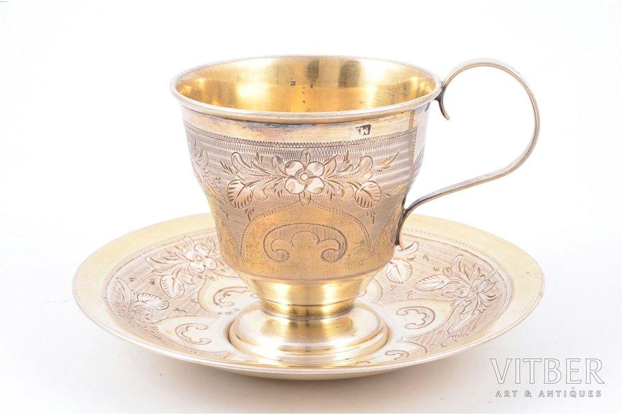 tea pair, silver, 84 standart, engraving, gilding, 1875, 127.25 g, by Dmitriyev M., Moscow, Russia, h (cup) 7.5 cm, Ø (saucer) 12 cm cm