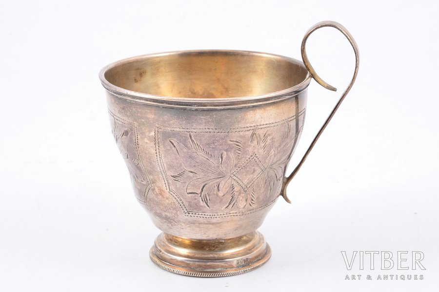 teacup, silver, 84 standart, engraving, 1896, 58.80 g, by Israel Eseevich Zakhoder, Kiev, Russia, h 7.3 cm