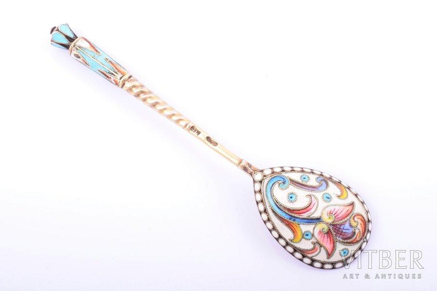 teaspoon, silver, 84 standart, cloisonne enamel, gilding, painted enamel, 1896-1907, 21.55 g, Moscow, Russia, 10.7 cm