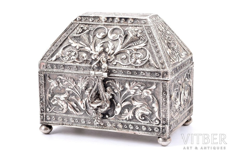 case, silver, 916 standart, the beginning of the 20th cent., 188.55 g, Great Britain, 10.7 x 6.9 x 8.4 cm