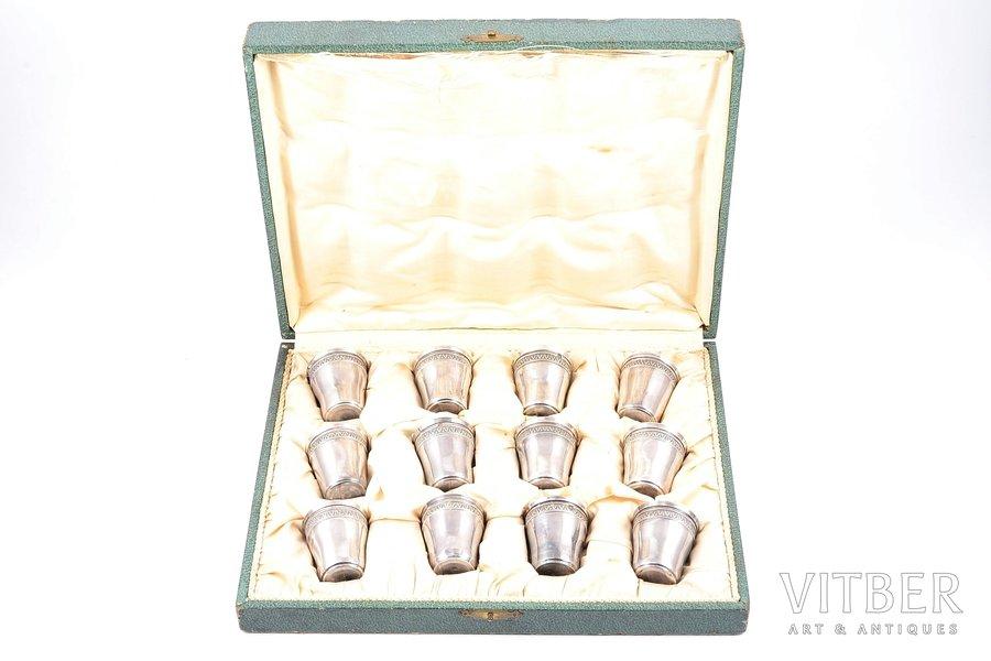 комплект, серебро, 950 проба, стопок, 12 шт., 1905-1923 г., 98.25 г, Charles Barrier, Париж, Франция, h - 4.2 см