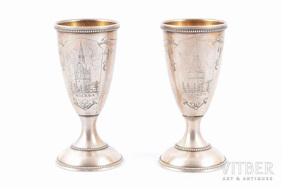 "pair of little glasses, silver, 875 standart, ""Spasskaya Tower"", engraving, 1953-1958, 57.60 g, Tallinn Jewelry Factory, Tallin, Estonia, USSR, h - 7.3 cm"