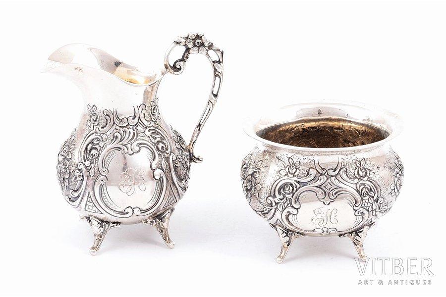 sugar-bowl, cream jug, silver, 830, 813 H standart, 1964, 309.85 g, Helsinki, Finland, h (сахарница) - 5.8 см, h (сливочник) - 8.9 cm
