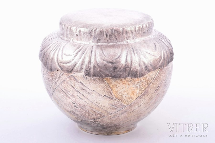 "a pot with lid, silver, ""Bast"", 84 standart, 1867, 481.30 g, workshop of Pavel Ovchinnikov, Moscow, Russia, h 11 cm"