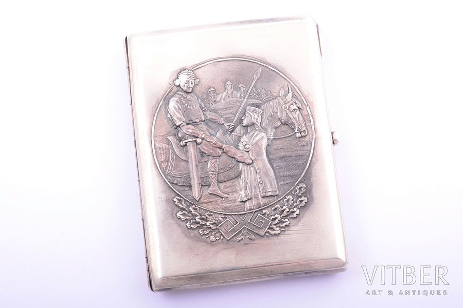 cigarette case, silver, 875 standart, the 20-30ties of 20th cent., 165.05 g, by Jānis Rīduss, Latvia, 10.8 x 8.3 x 1.5 cm