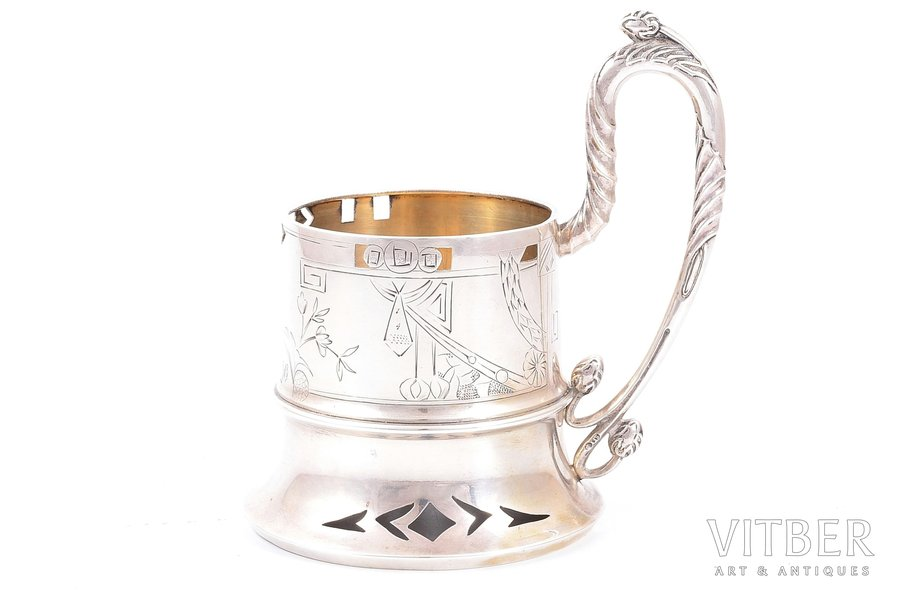 tea glass-holder, silver, 84 standart, engraving, gilding, 1908-1912, 171.60 g, master Frolov Sergey Alexeyevich, Moscow, Russia, Ø (inside) = 6.7 cm, h (with handle) = 12.9 cm