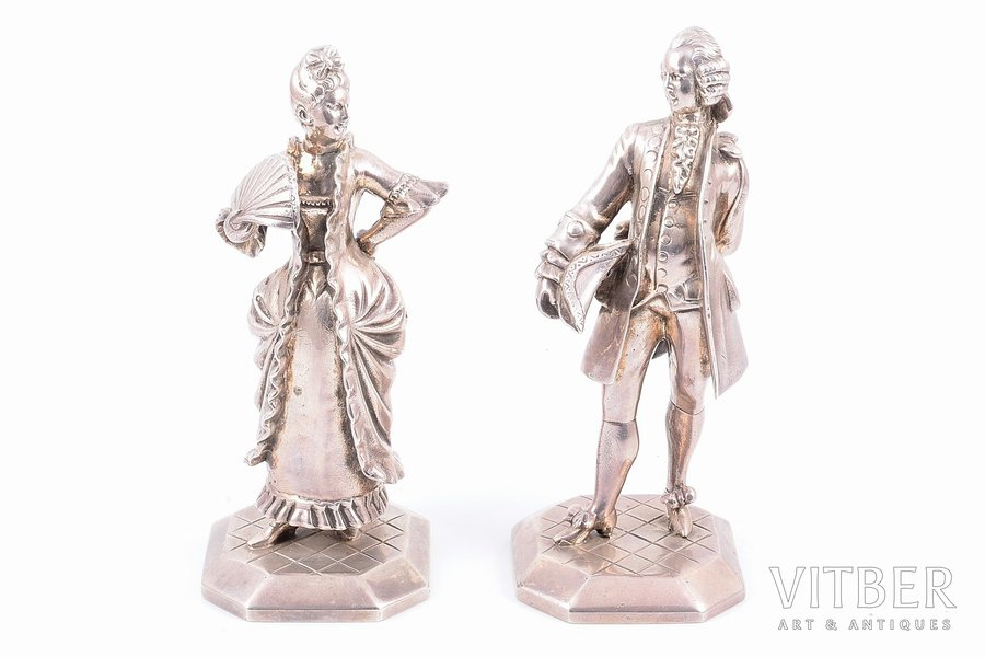 figurine, silver, 925 standart, figurine pair, the 2nd half of the 20th cent., 1059.45 (590.70 + 468.75) g, Paris, France, h - 12.7, 13.2 cm