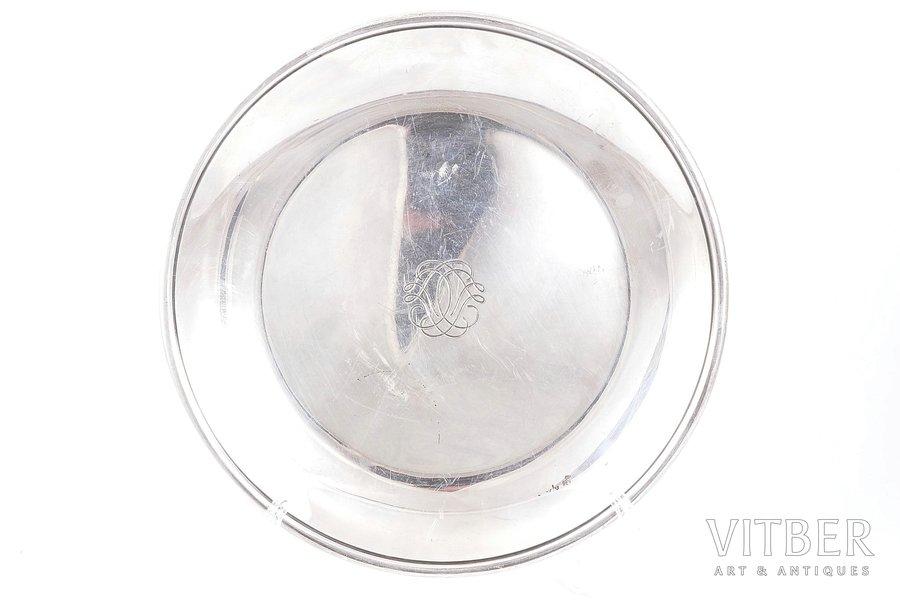 šķīvis, sudrabs, 950 prove, 420.40 g, meistars Emile Puiforcat, Francija, Ø - 24.1 cm