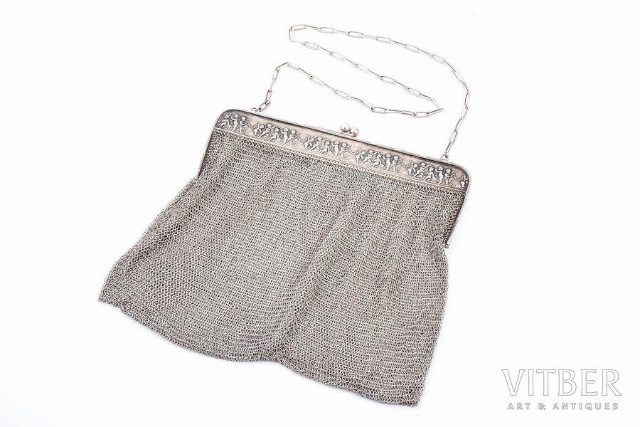 an evening bag, silver, 800 standart, chainmail, 478.30 g, France, 19.5 x 20.5 cm