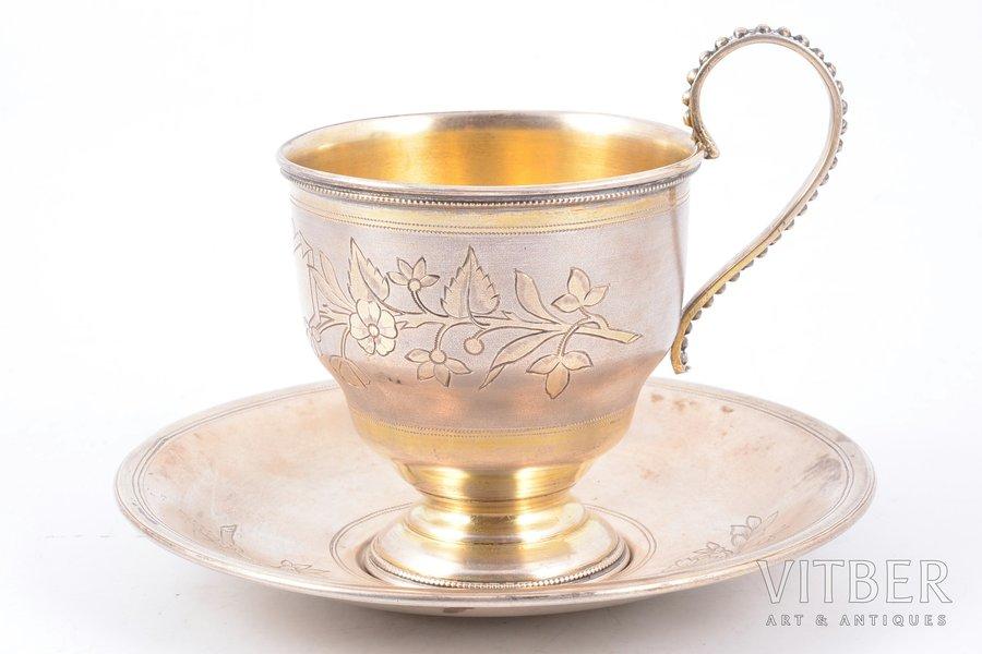 tea pair, silver, 84 standart, engraving, gilding, 1894, 166.35 g, P. Milyukov workshop, Moscow, Russia, h (cup) 8.9 cm, Ø (saucer) 12.6 cm