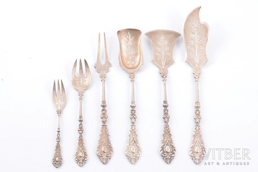 flatware set of 6 items, silver, 84 standart, engraving, 1880-1896, 198.1 g, by Richard Muller, Riga, Russia, 20.5, 18.1, 17.8, 17.8, 14, 11.4 cm