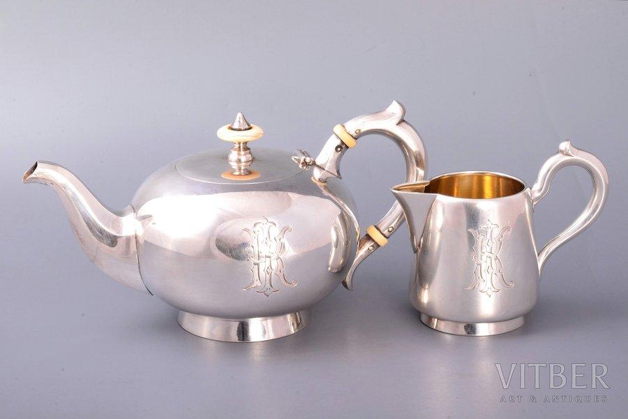 komplekts, tējkanna (tējas uzlējumam), krējuma trauks, sudrabs, 84 prove, 1892 g., 616.30 g, Gavriila Gračova firma, Santkpēterburga, Krievijas impērija, h (tējkanna) 10.5 cm, h (krējuma trauks) 9.2 cm