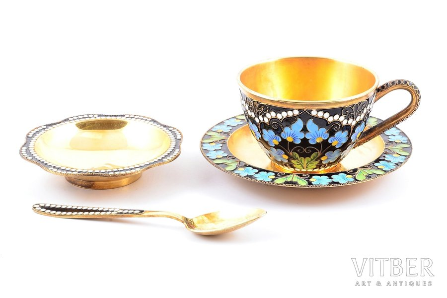 coffee pair with spoon and jam dish, silver, 916 standart, cloisonne enamel, gilding, 1953-1968, 271.85 g, Leningrad jewelry-watch factory, Leningrad, USSR, h (cup) 4.8 cm, Ø (saucer) 10.9 cm, 11.7 cm (spoon), Ø (jam dish) 8.5 cm