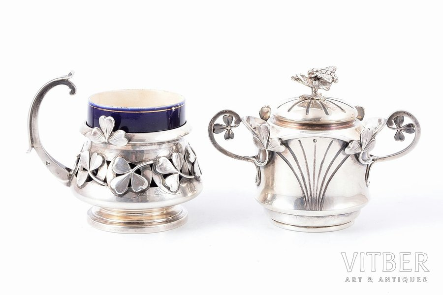 950 standart, set, teapot and glassholder with porcelain cup, art nouveau, the beginning of the 20th cent., weight of silver 370.25g, France, teapot h - 9.1 cm / glassholder - Ø (inner) - 5.5 cm, h (with handle) - 8.6 cm / cup  h - 5.9 cm