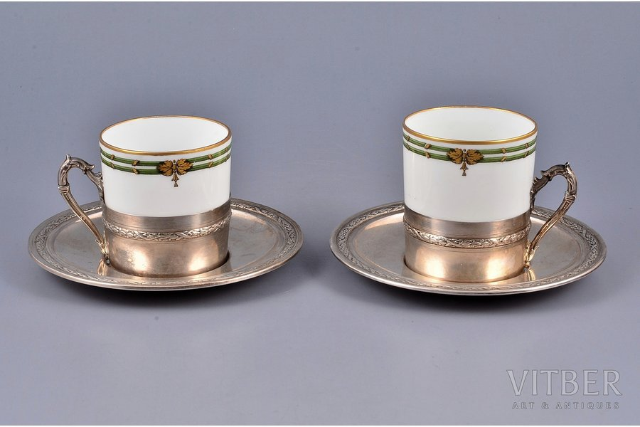 two coffee pairs, silver with porcelain Limoges France, 800 standart, silver weight 105.35g, France, h of the cup 5.6 cm, Ø of the saucer 12 cm