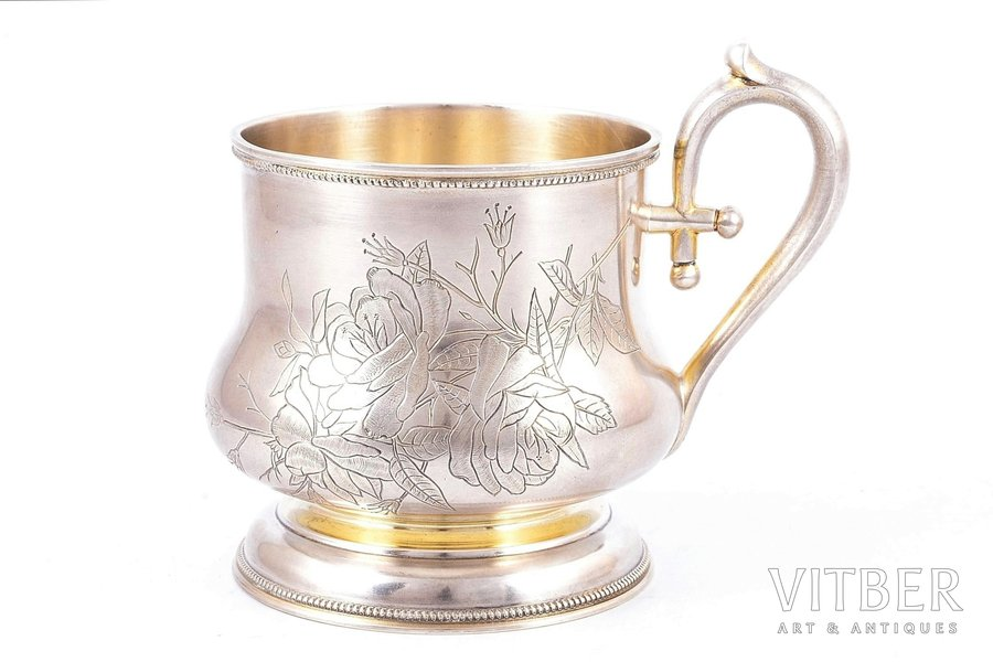 tea glass-holder, silver, 84 standart, engraving, gilding, 1896-1907, 170.95 g, Alexander Iosifovich Fuld's factory, Moscow, Russia, Ø (inside) - 6.9 cm, h (with handle) - 9.3 cm