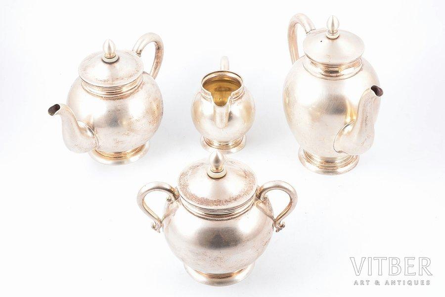 service, silver, 84 standart, small teapot, coffeepot, sugar-bowl, cream jug, gilding, 1893, 1894, total weight of items 1755.75g, Nikolay Kemper's workshop, St. Petersburg, Russia, small teapot h 14.7 cm, 500.00 g/ coffeepot h 18.7 cm, 606.30 g/ sugar-bowl h 14.2 cm, 457.45 g/ cream jug  h 9.1 cm, 192.00 g