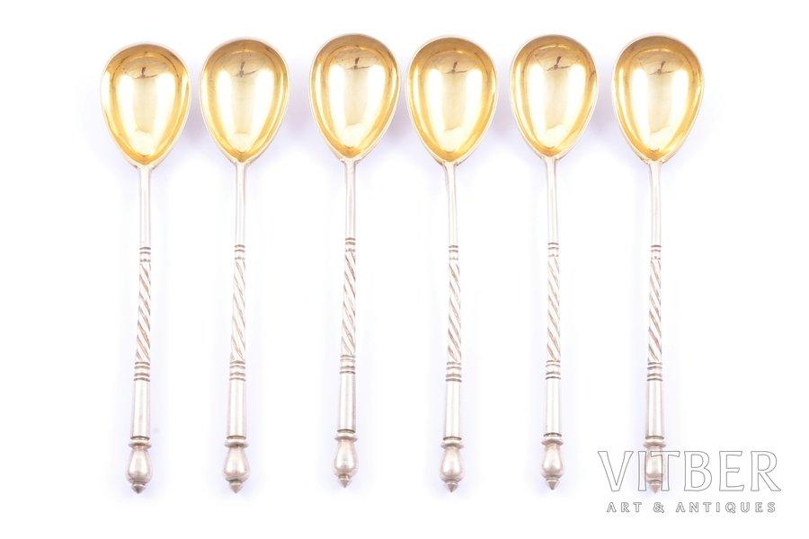 set of teaspoons, silver, 84 standart, 6 pcs, gilding, 1908-1917, 84.30 g, Pavel Volkov, Moscow, Russia, 11.3 cm