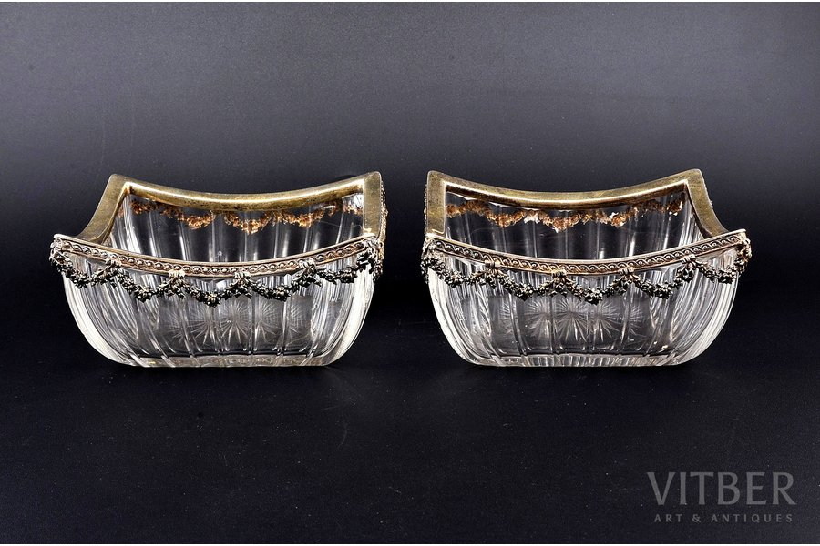 830 standart, pair of candy-bowls, with glass, (total weight of items) 1220.80g, Germany, 14.2 x 14 x 6.5 cm