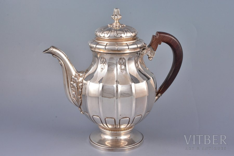 coffeepot, silver, 950 standart, total weight of the item 905.5g, Tetard Freres, Paris, France, h 22.8 cm