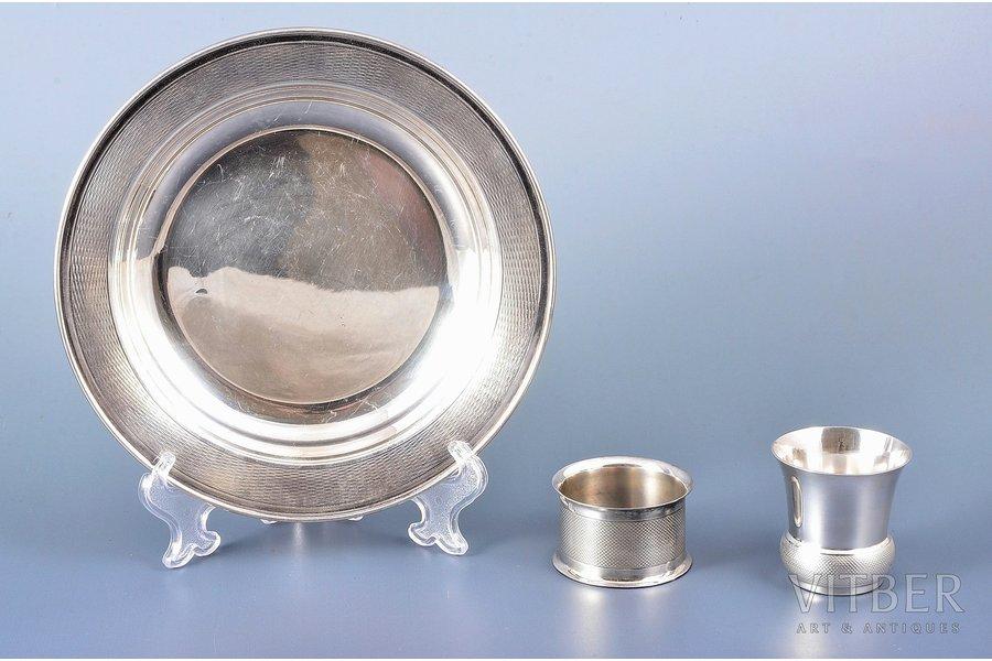 komplekts, sudrabs, 950 prove, šķīvis, glāzīte, salvešu turētājs, 20. gs., 251.80 g, Orfevre Christofle, Parīze, Francija, Ø (šķīvis) - 16.3 cm, h (glāzīte) - 4.5 cm, h (salvešu turētājs) - 2.8 cm cm