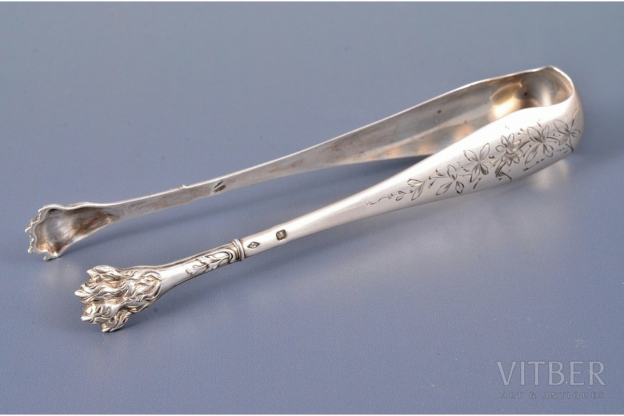 sugar tongs, silver, 950 standart, 37.95 g, Charles Murat, Paris, France, 14.5 cm
