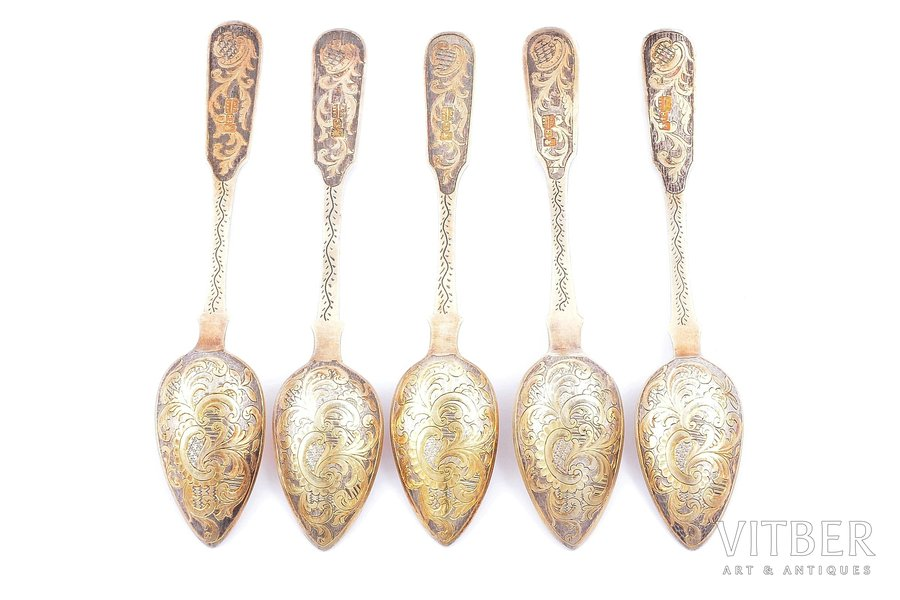 set of 5 teaspoons, silver, 84 standart, engraving, gilding, 1850, 98.85 g, Moscow, Russia, 14.3 cm