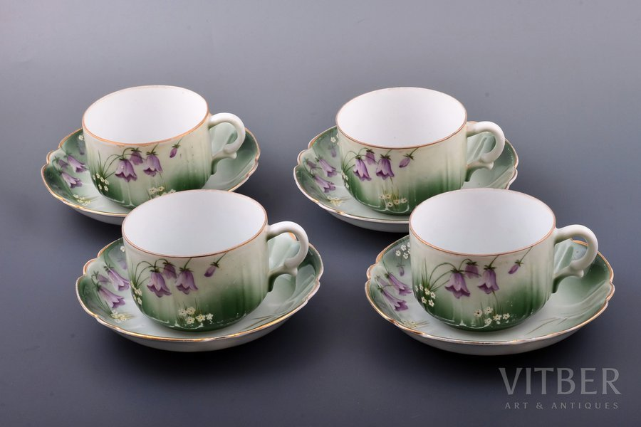 set of 4 tea pairs, porcelain, Gardner manufactory, hand-painted, Russia, the border of the 19th and the 20th centuries, h (cup) 5.3  cm, Ø (saucer) 13.5 cm