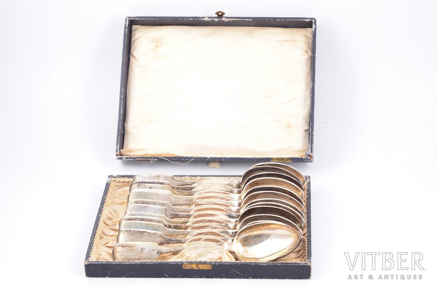 set of tablespoons, silver, 84 standart, 12 pcs, 1886, 855.30 g, Odessa, Russia, 21.6 cm, in a box