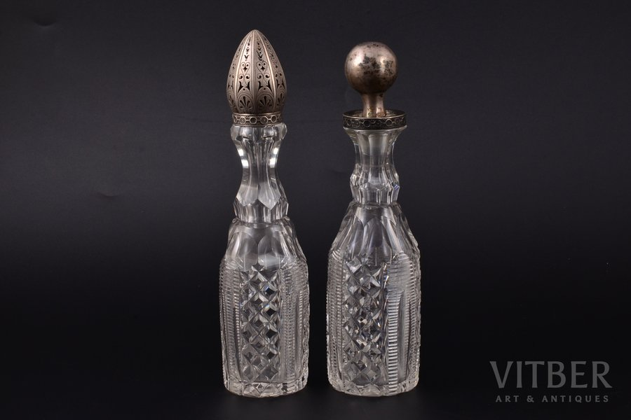 oil and vinegar cruet set, silver, 84 standart, crystal, total weight of items 566.10g, Russia, h 20.3 / 19.5 cm, Round Cork possibly is not original