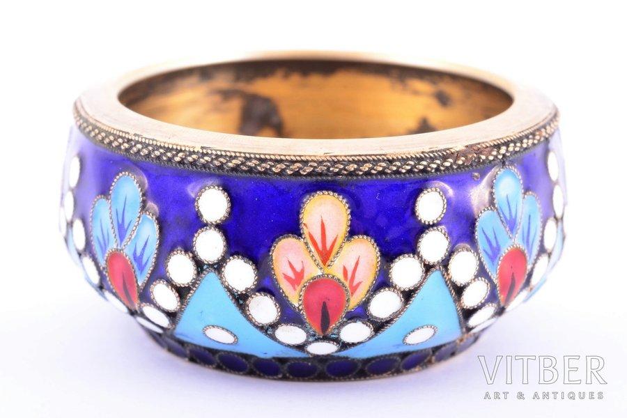 saltcellar, silver, 916 standart, cloisonne enamel, gilding, painted enamel, 1956, 37.65 g, Leningrad jewelry-watch factory, Leningrad, USSR, Ø 4.5 cm