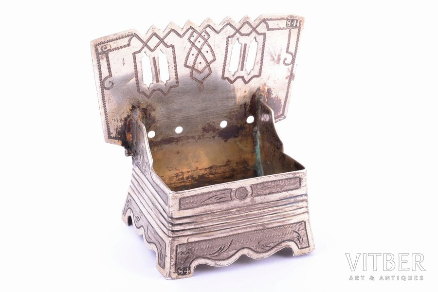 """sālstrauks, sudrabs, 84 prove, """"Tronis"""", māksliniecisks gravējums, 1874 g., 74.05 g, meistars Ikoņņikovs S. M., Maskava, Krievijas impērija, 7 x 7.6 x 4.8 cm, bez vāka"""