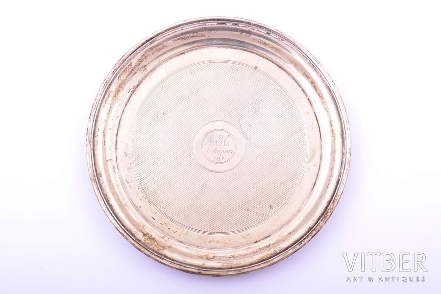 plate, silver, 84 standart, 1869, 174.55 g, workshop of Pavel Ovchinnikov, Moscow, Russia, Ø 16 cm