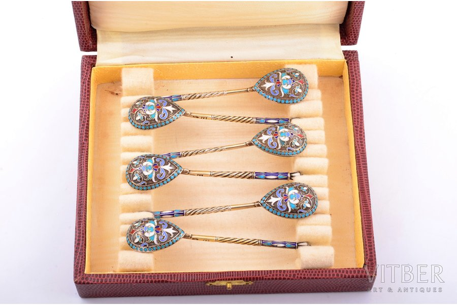 set of teaspoons, silver, 84 standart, 6 pcs., cloisonne enamel, 1896-1907, 77.75 g, Moscow, Russia, 10.1 cm, box is not original