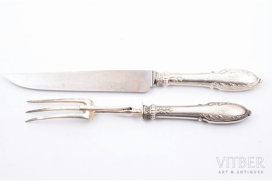 flatware set, silver, 950 standart, 2 items, metal, 1883-1911, total weight of items 277.10g, Alphonse Debain, Paris, France, 32.4, 27.9 cm, dent on a handle of the knife