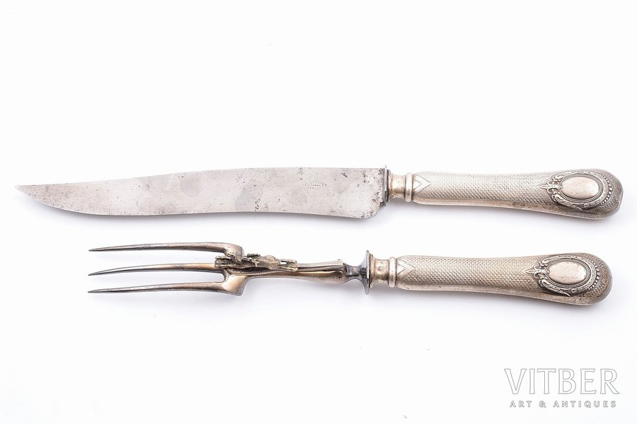 flatware set, silver, 950 standart, 2 items, metal, 1841-1851, total weight of items 309.30g, Philippe Berthier, Paris, France, 33.3, 28.5 cm, dent on a handle of the knife