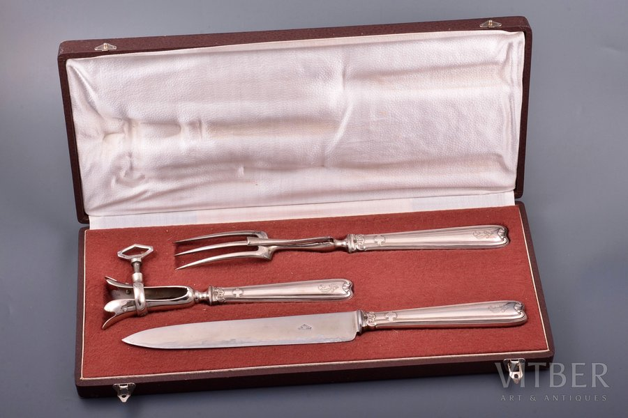 flatware set, silver, 950 standart, 3 items, metal, total weight of items 377.35g, France, 31.6 / 27.4 / 19.6 cm, in a box