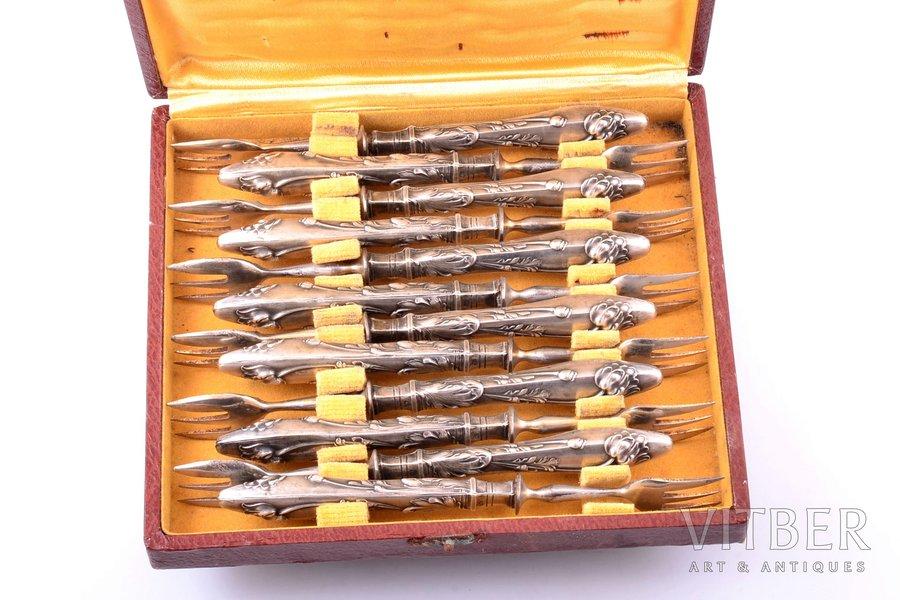 """комплект из 12 вилок для устриц, """"Маки"""", серебро, 800 проба, металл, общий вес 318.20 г, 16 см, в коробке, есть несколько вмятин на ручках"""