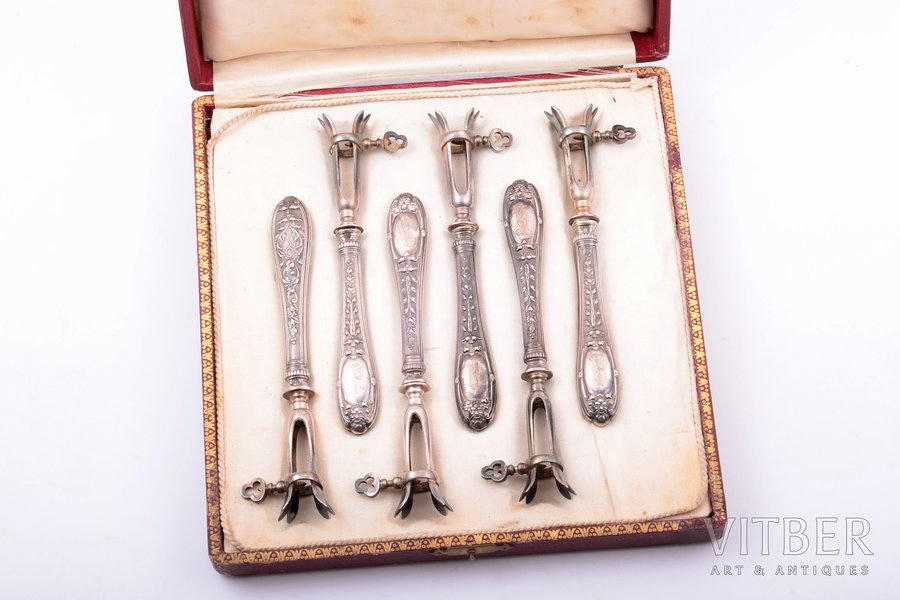 flatware set for meat, silver, 6 items, 950 standart, metal, total weight 200.15g, France, 14.2 cm, in a box