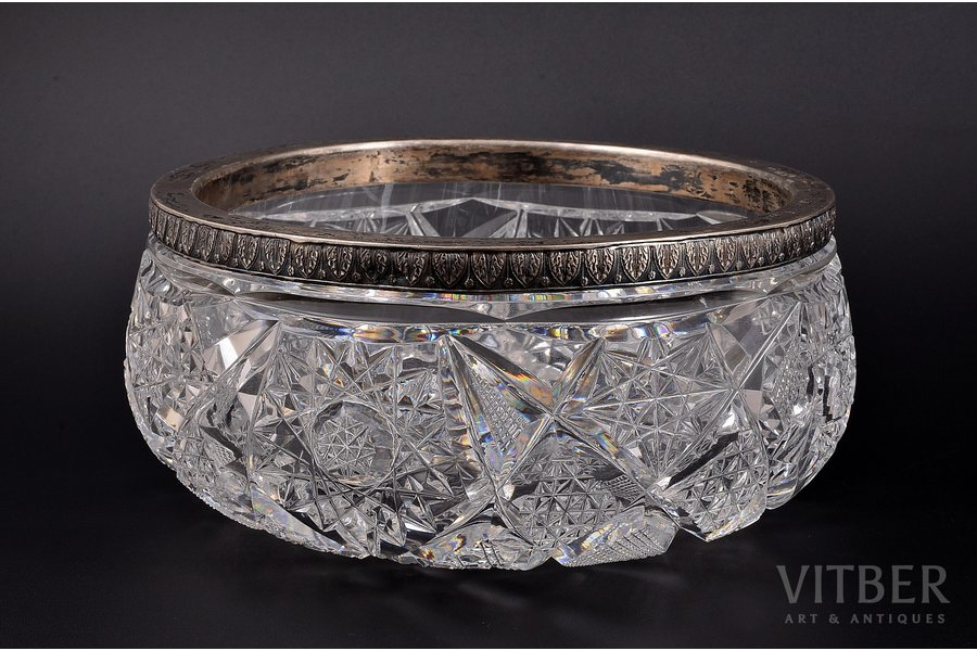 candy-bowl, silver, 875 standart, crystal, the 20-30ties of 20th cent., (total weight of item) 2250g, Latvia, Ø - 21, h - 9.6 cm