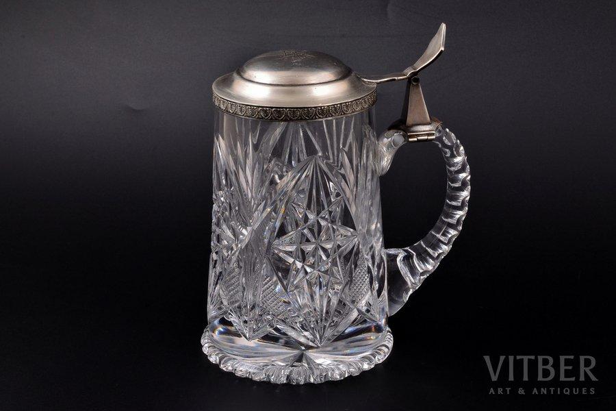 beer mug, silver, 875 standart, gilding, 1930, Latvia, h 17.3 cm