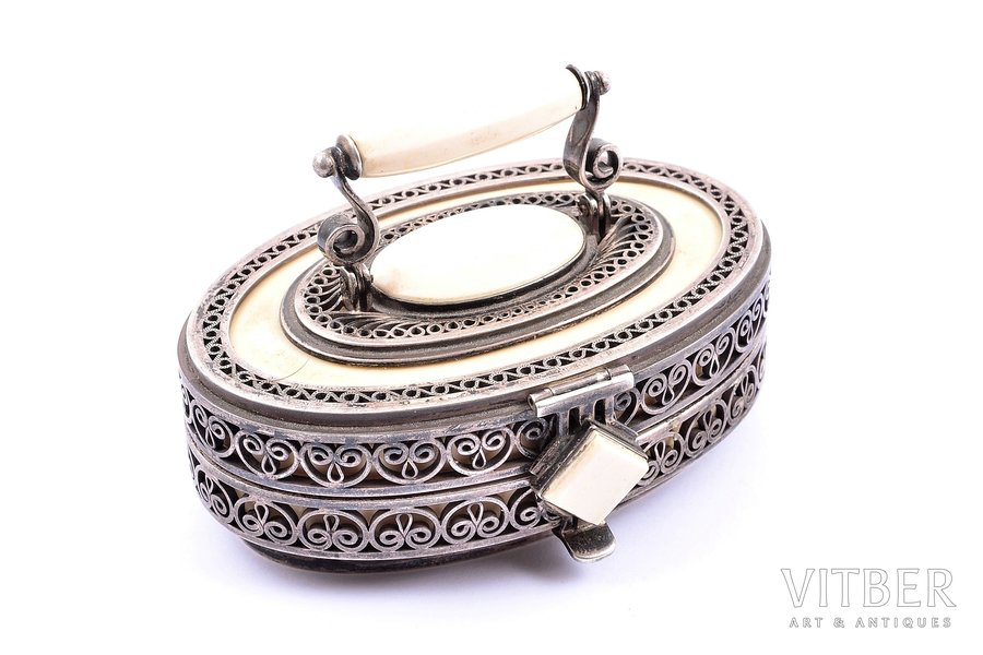 case, silver, 925 standart, ivory, (total weight of item) 137.85g, Europe, 8.2 x 6 x 5.5 cm