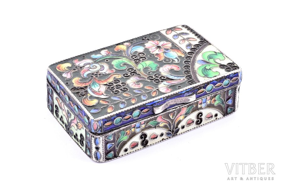 case, silver, 84 standart, cloisonne enamel, 1908-1917, 83.05 g, craftsman unknown, Moscow, Russia, 8.2 x 6 x 5.5 cm, enamel with chips