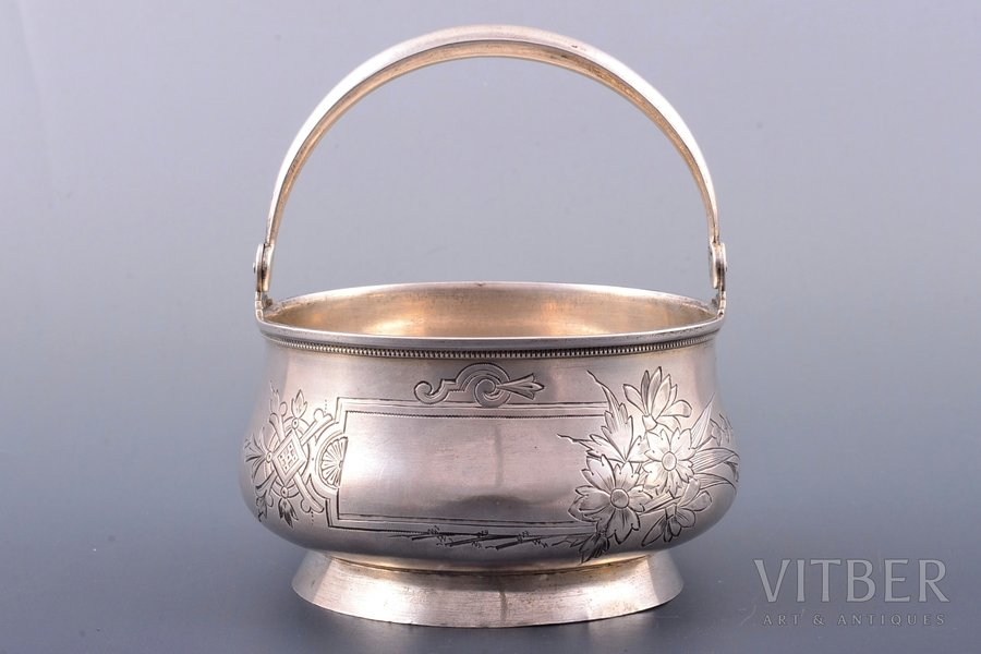 sugar-bowl, silver, 84 standart, engraving, 1896-1907, 144.70 g, Moscow, Russia, Ø 10 cm, h (with handle) 11.5 cm