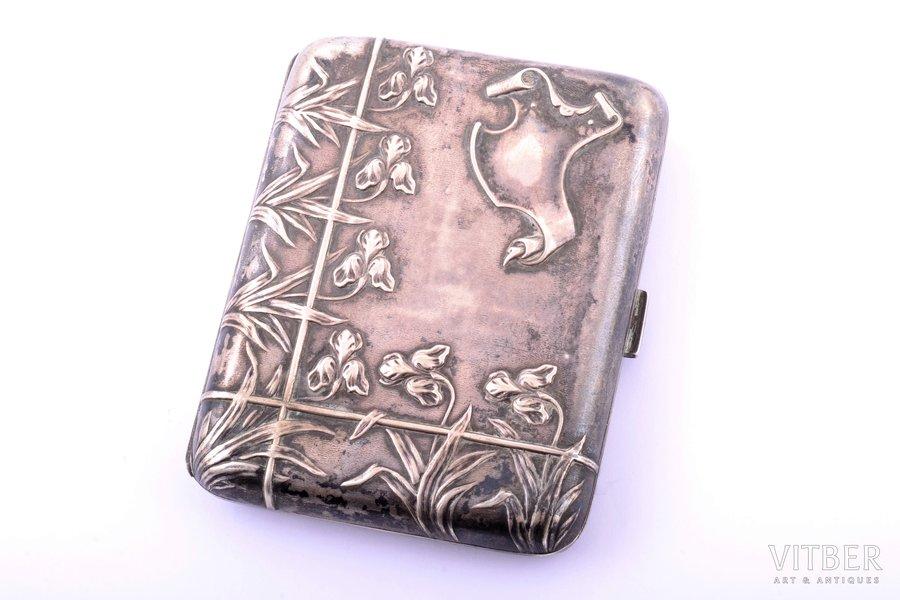 cigarette case, silver, 800 standart, 76.80 g, France, 8.5 x 7 x 1.7 cm