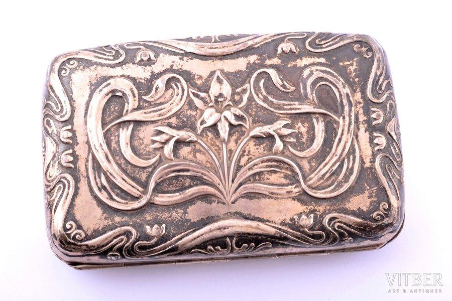 cigarette case, silver, 800 standart, Art-Nouveau, 72.40 g, 9.7 x 6.3 x 2.4 cm